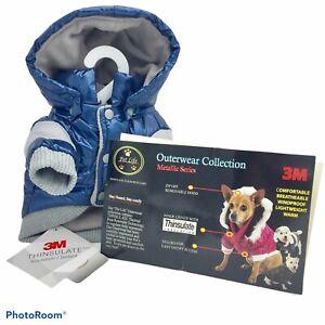NWT Pet Life Classic Metallic 3M Insulated Fashion Dog Coat Parka Sz XS Blue