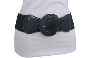 Women Fashion Wide Stretch Belt Hip High Waist Elastic Charcoal Dark Gray XS S M