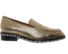 BNIB Jeffrey Campbell Gold Leather Reptile Studded Loafer Shoes EU 36 UK 3 £150