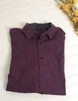 Ben Sherman Mens Long Sleeve Striped Shirt Flip Cuff Red Black Casual sz XL