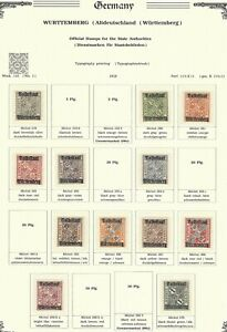 Wurttemberg, Officials, Mi. 258 / 270, MH, ( 12 )