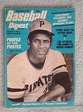 SEPTEMBER 1972 BASEBALL DIGEST ROBERTO CLEMENTE PIRATES NEWSSTAND EDITION