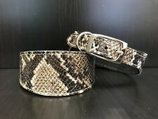 S/M Leather Dog Collar LINED Greyhound Lurcher Whippet Saluki BROWN SNAKE SKIN
