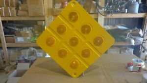 Yellow 9 Button Object Marker 18x18 Aluminum Yellow 9 Reflector Hazard Sign