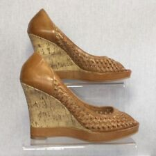 NEXT 100% Leather Wedge Peep Toes Heels for Women