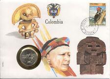 superbe enveloppe COLOMBIE COLOMBIA pièce 10 pesos 1985 neuve new unc timbre