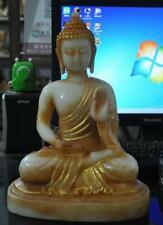 Tibet Buddhism Old White jade Stone Gilt Sakyamuni Shakyamuni Buddha Gods Statue