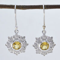 classy Citrine 925 Sterling Silver Yellow Earring genuine indian US gift