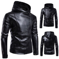 Men's  PU Leather Jackets  Casual Long Coat Slim Fit Suit Jacket Outwear Parka