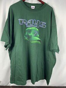 Vintage Tampa Bay Rays Shirt Adult 3XL Green MLB Baseball Men NWT Spellout READ