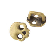 Brass Skull Slider Charm Beads Fits Regaliz Leather 16mm Pack of 2 (F23/14)