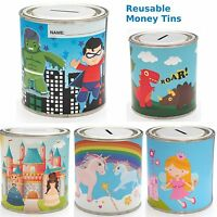 Kids Themed Reusable Money Tins SUPER HERO Savings Tin UNICORN Money Box