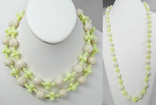 "Antique Art Deco Czech Uranium Glass Flower Bead 36"" Rope Length Necklace"