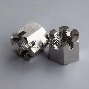 2pcs M14 x 1.5 Titanium Ti Hex Slot Castle Crown Nut for Rod Wheel Axle Hub