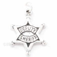 DEPUTY SHERIFF Star Badge Police Officer .925 Charm Pendant 925 Sterling Silver