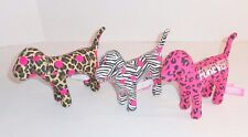 Victorias Secret Pink Dog Plush Set Lot Leopard Zebra Animal Print Black P64