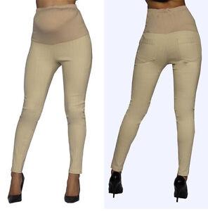 Khaki Skinny Pants Bottoms Maternity Elastic Band Stripped Back Pocket S M L XL