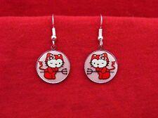 HELLO RED DEVIL KITTY CAT HORNS EARRINGS KAWAII EMO