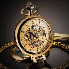 KS Luxury Mens Hand-winding Mechanical Pocket Watch Skeleton Half Hunter Chain