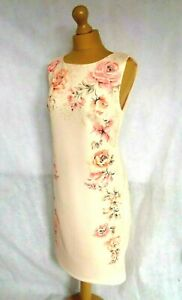 NEW TOGETHER KALEIDOSCOPE PEACH FLORAL SHIFT BODYCON DRESS SIZE UK14