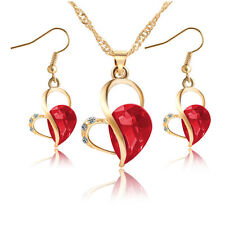 Gold Plated Red Heart Zircon Rhinestone Necklace Earrings Women Jewelry Sets