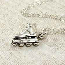 925 Sterling Silver Rollerblades Necklace - Inline Skates Skating Charm Jewelry