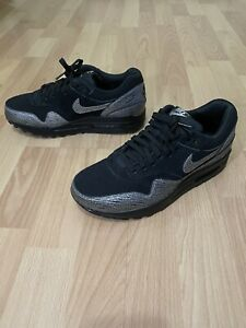 Nike Air Max 1 Animal Print Trainers Silver Suede Women Size 7 Shoes 454746-005