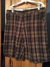 Men's Works Ron Chereskin Brown Plaid Casual Khaki Chino Shorts Size 34