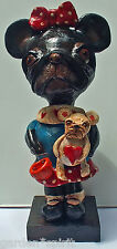 Folk Art French Bulldog Callie Doll Nostaglic Vintage Style W Bull dog Pup & Jol