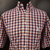 ADIDAS Mens Shirt 41 (XL) Short Sleeve Multicoloured Regular Fit Check Cotton