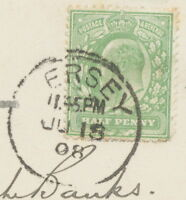 "GB CI ""ERSEY"" (JERSEY) superb CDS - PROBABLY UNIQUE POSTMARK-ERROR 1908 RRR!!!"