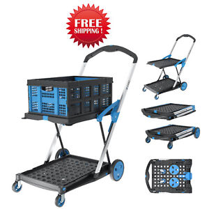 X Cart Folding Trolley With Collapsible Basket - One Basket Included