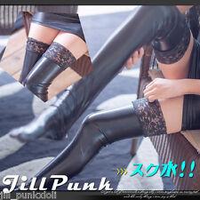 gothic visual dark countess patent leather lace trim Knee high socks J2B3300
