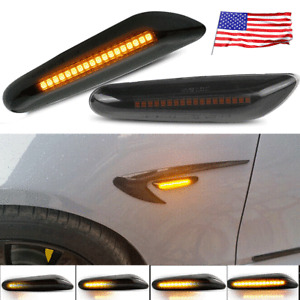 2x Smoked LED Fender Side Marker Light Sequential Turn Signal Lamp for BMW 328i