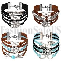 4pcs Multilayer Leather Bracelet Handmade Men Women Angel Wing Wristband Bangle