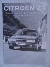 Citroen ZX Specification brochure 1994 - Reflex,Avantage,Furio,Volcane,Aura,16V