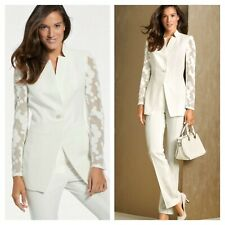 Patrizia Dini Designer White Plus Size 20 Mesh Sleeve BLAZER Jacket Wedding £119