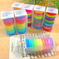 10P Rainbow Decorative Washi Sticky Paper Masking Adhesive Tape Label Craft DIY