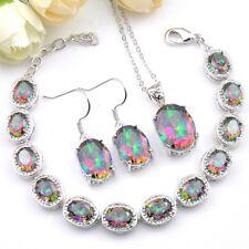 Shine Fire Rainbow Mystic Topaz Silver Chain Bracelets Necklace Earrings Sets