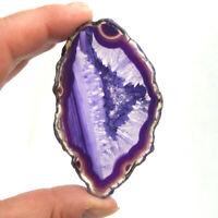 Purple Agate Slice with Quartz Crystal Polished Banded Geode Slice 8cm x 4.5cm