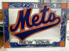 New listing Ny Mets stain glass painted metal hanging sign.