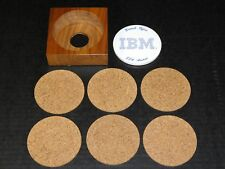 Rare Vtg IBM Computer Software Engineer Employee Award 6 Drink Cork Coaster Set