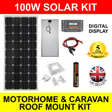 100W 12V Mono-Crystalline Solar Panel Charging Kit Motorhome Caravan Roof Mount