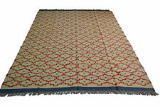 Extra Large Kilim Rug Red Diamond Beige Natural Jute Wool Indian 240x300cm 8x10'