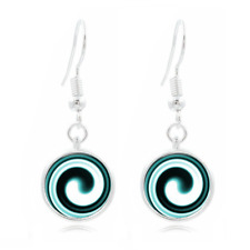Hypnotic Swirl Glass Dome Earrings Art Photo Tibet silver Earring Jewelry #11
