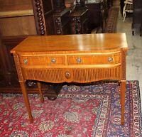 English Antique Edwardian Burl Mahogany Wood Small Sideboard Dinging Room Server