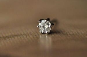 925 Sterling Silver Earrings Studs Six Prong Brilliant Cut Shiny Cubic Zircon