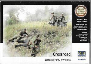 Master Box Allemand, Russe Crossroad, 5 Figurines & BMW R75 Moto 1/35 72 St