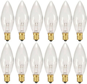 12 Pack - Replacement Light Bulbs for Electric Candle Lamps, Window Candles, 7W
