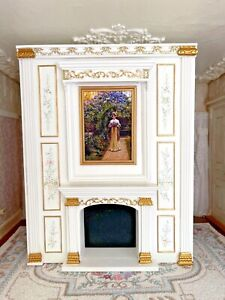 RESERVED ANIA Early Bespaq Wood Hand Painted Wall Unit Fireplace